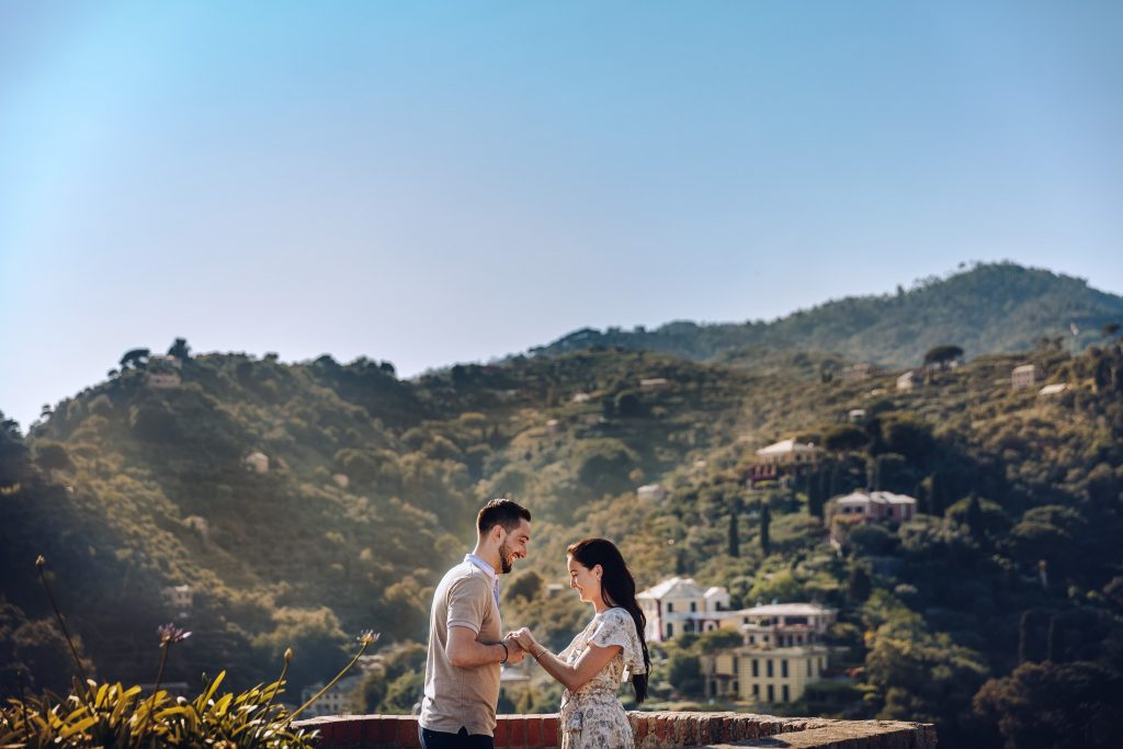 Romantic marriage proposal Portofino