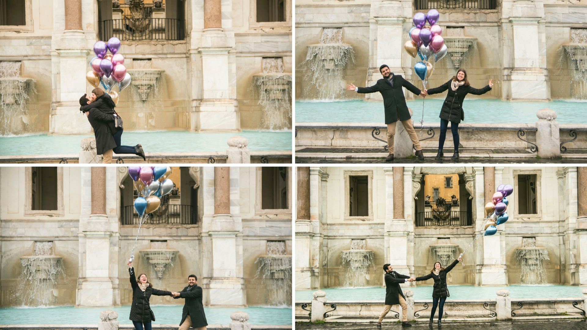 Balloons engagement photo shoot Rome